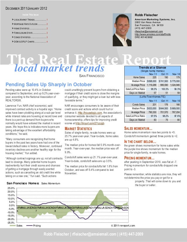 local market trends The Real Estate Report SAN FRANCISCO SALES MOMENTUM… Home sales momentum rose two points to +5. Condo/...