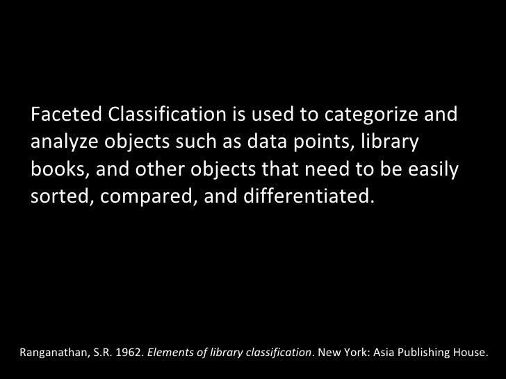 <ul><li>Faceted Classification is used to categorize and analyze objects such as data points, library books, and other obj...