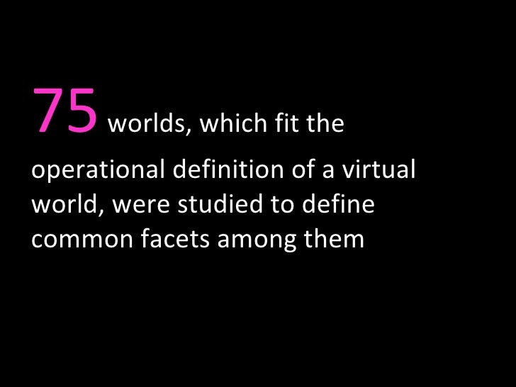 75  worlds, which fit the operational definition of a virtual world, were studied to define common facets among them