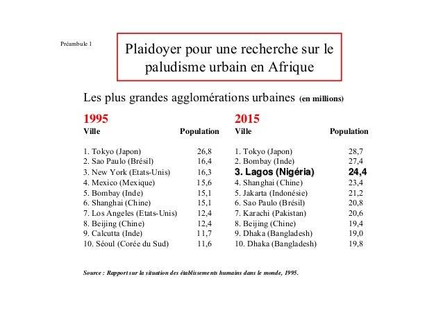 Préambule 1                      Plaidoyer pour une recherche sur le                         paludisme urbain en Afrique  ...