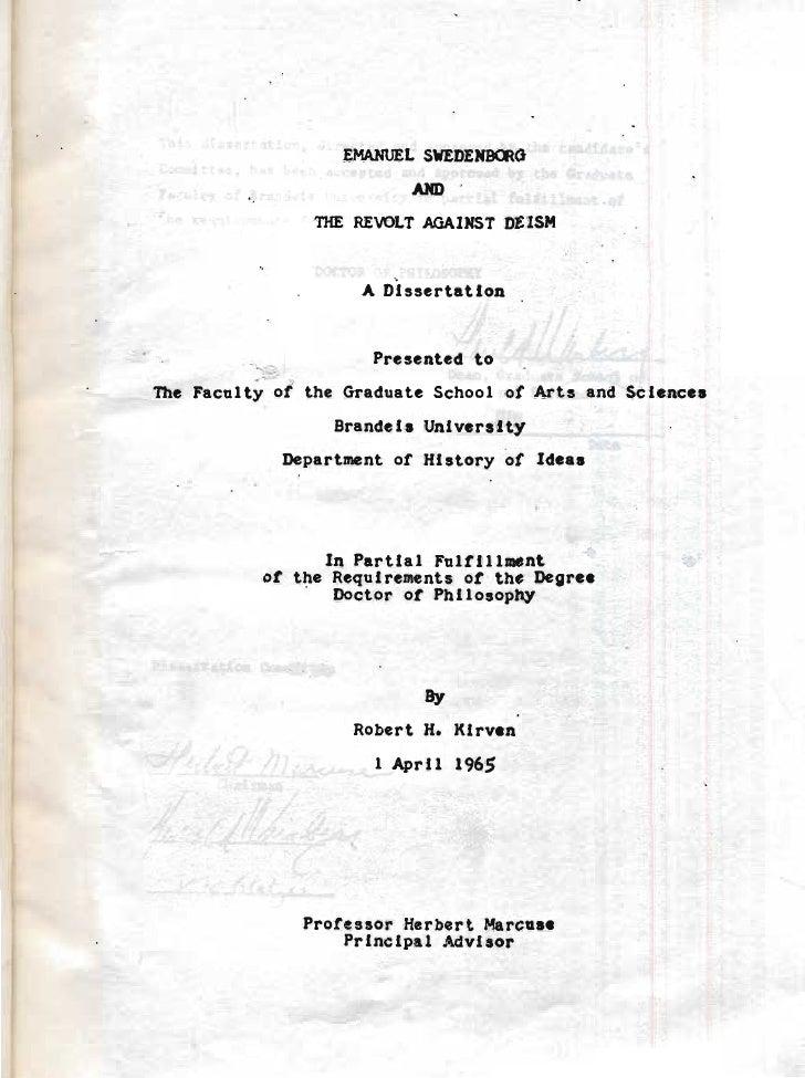 EMAHUEL SWEDENBalG                          MD                niE REVOLT AGAINST DEISM                     A Dissertation ...