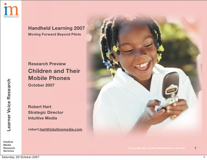 Handheld Learning 2007                            Moving Forward Beyond Pilots                                Research Pre...