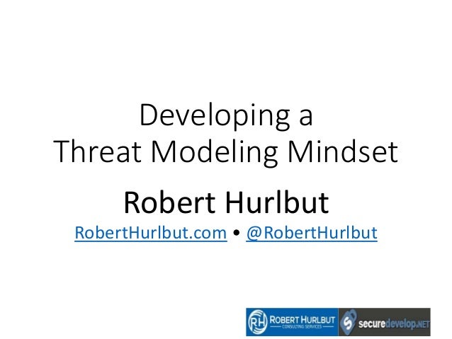 Developing a Threat Modeling Mindset Robert Hurlbut RobertHurlbut.com • @RobertHurlbut