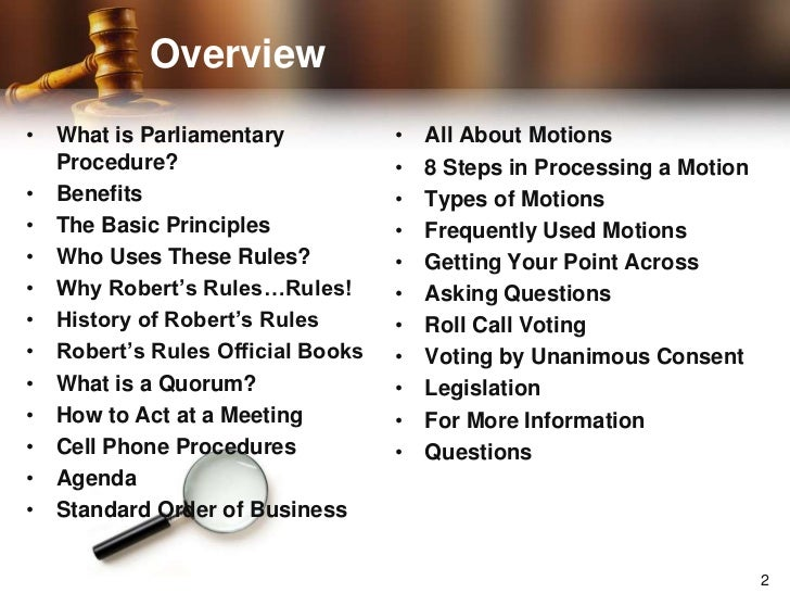 an introduction to parliamentary procedures and parliamentary law For those new to parliamentary procedure, sturgis is an easier introduction to  parliamentary procedure than ronr other well-known manuals.
