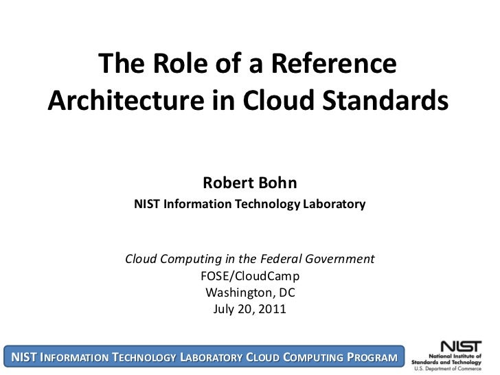 The Role of a Reference     Architecture in Cloud Standards                              Robert Bohn                   NIS...