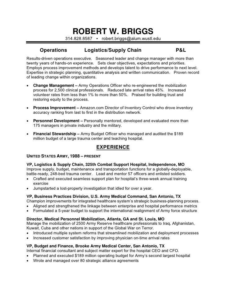 resume for army