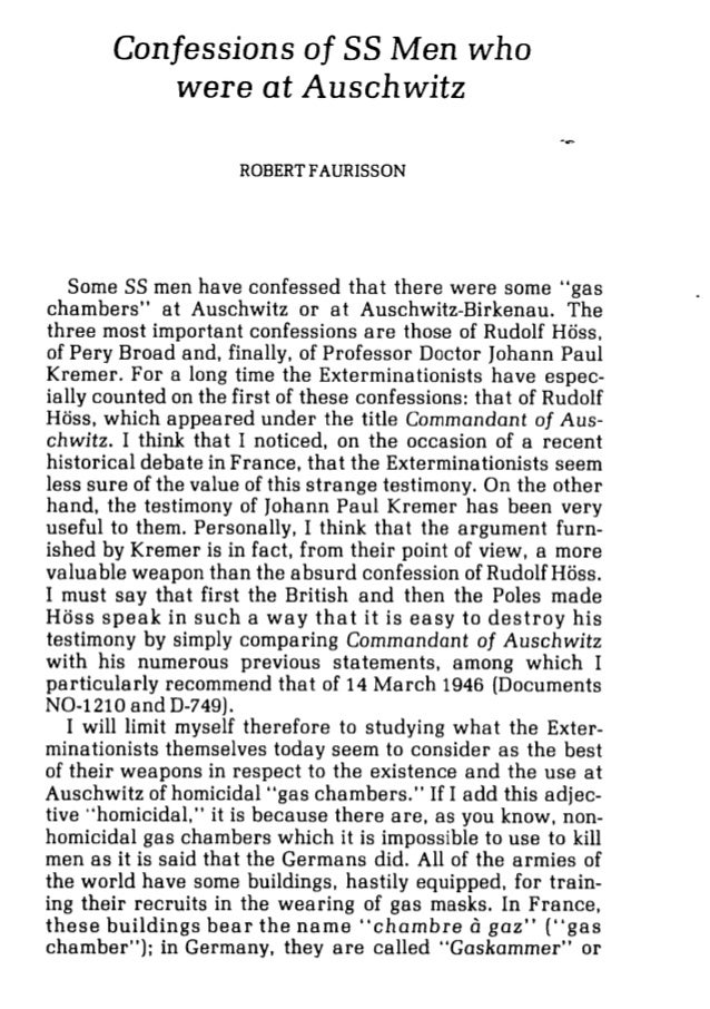 """Confessions of SS Men who were at Auschwitz -h ROBERT FAURISSON Some SS men have confessed that there were some """"gas chamb..."""