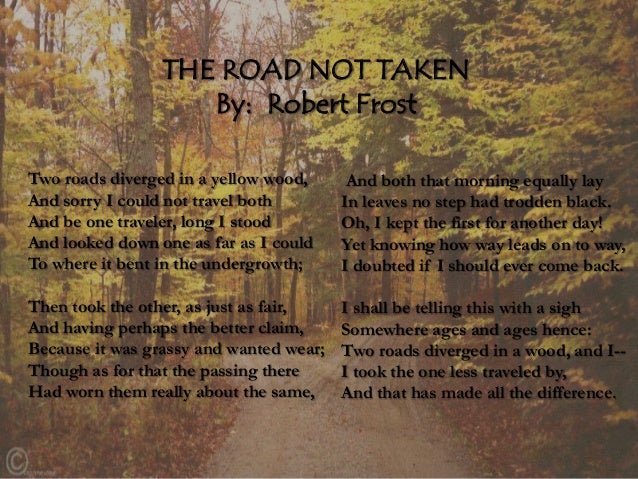 two roads diverged in a yellow wood poem