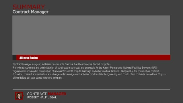 Robert Half Legal - Contract Manager Roles and Responsibilities