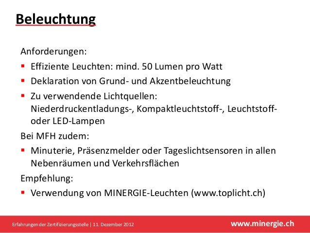 Beleuchtung   Anforderungen:    Effiziente Leuchten: mind. 50 Lumen pro Watt    Deklaration von Grund- und Akzentbeleuch...