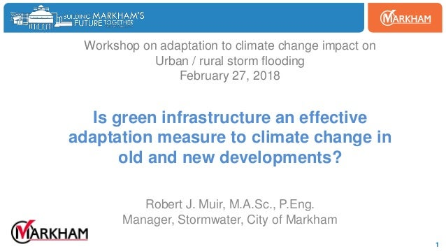Woodbine 1 Workshop on adaptation to climate change impact on Urban / rural storm flooding February 27, 2018 Is green infr...