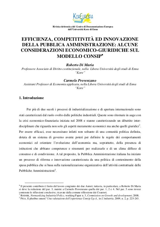 Rivista elettronica del Centro di Documentazione Europea dell'Università Kore di Enna  EFFICIENZA, COMPETITIVITÀ ED INNOVA...