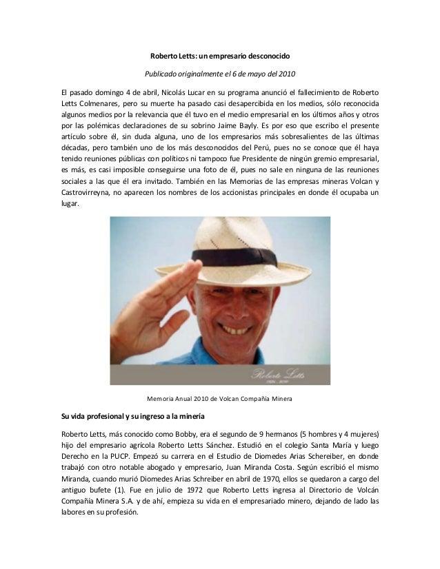 Roberto Letts: un empresario desconocido                          Publicado originalmente el 6 de mayo del 2010El pasado d...