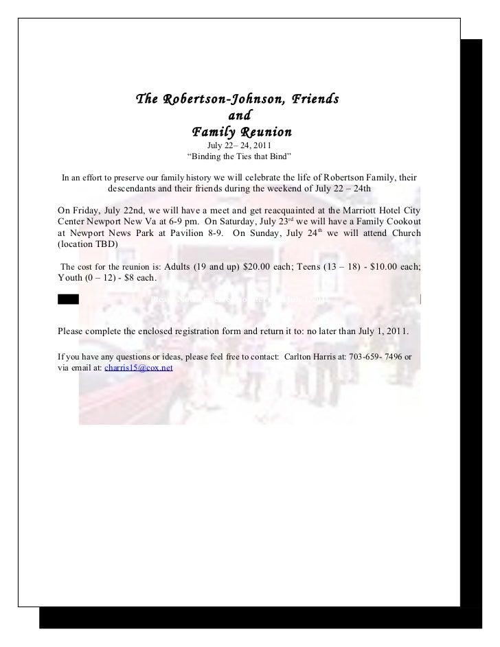 Robertson & Johnson Family Reunion Letter