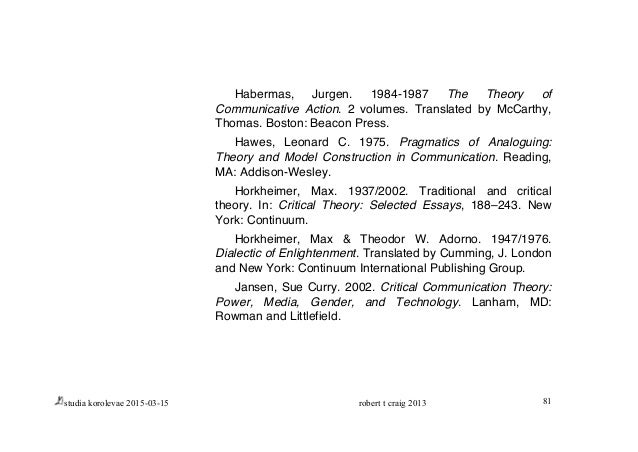 horkheimer critical theory selected essays In m horkheimer , critical theory: selected essays calhoun, c (1995) critical social theory (1980) introduction to critical theory: horkheimer to.