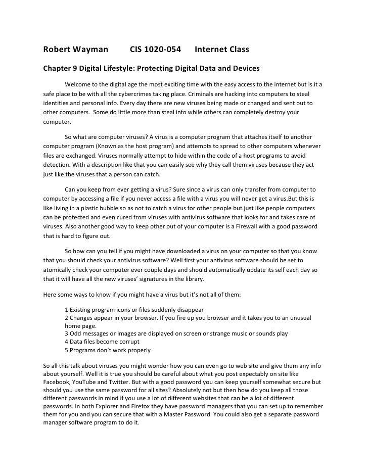 Robert Wayman                    CIS 1020-054              Internet ClassChapter 9 Digital Lifestyle: Protecting Digital D...