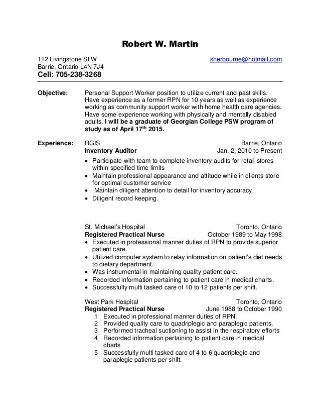 Robert w 39 s health care support updated for Sample resume for personal care worker
