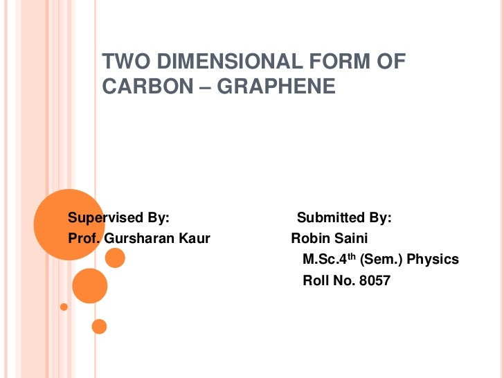 TWO DIMENSIONAL FORM OF    CARBON – GRAPHENESupervised By:          Submitted By:Prof. Gursharan Kaur   Robin Saini       ...