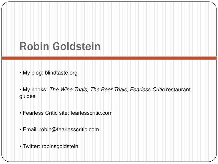 Robin Goldstein Ifbc Presentation