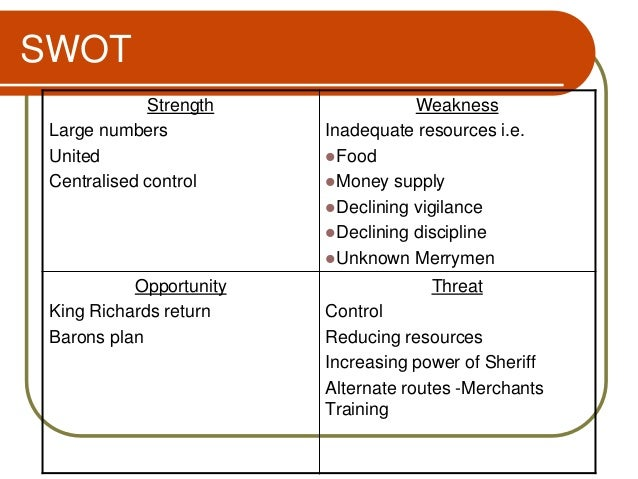 robin hood swot 2 essay Read this essay on robin hood analysis swot analysis robin hood analysis as robin hood's most trusted advisor and the most knowledgeable member.