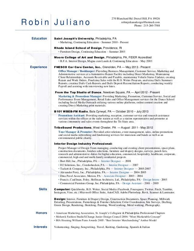 Robin Juliano Resume   Creative Marketing. R O B I N J U L I A N O 270  Blanchard Rd. Drexel Hill, PA 19026 Robinjulianodesign@hotmail  Resume For Marketing Manager