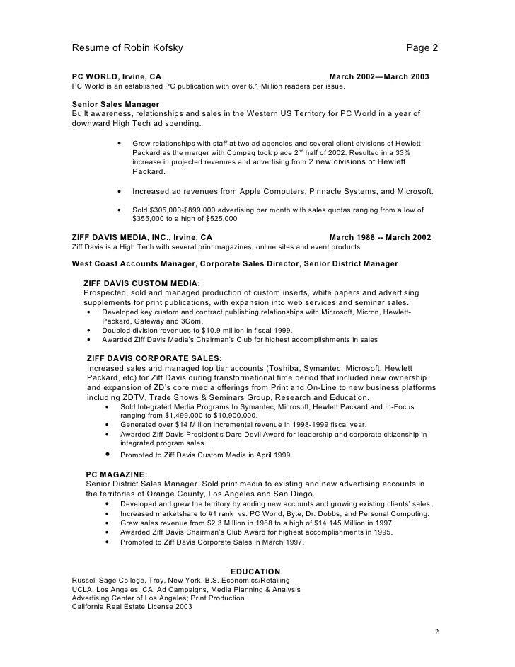print sales resume