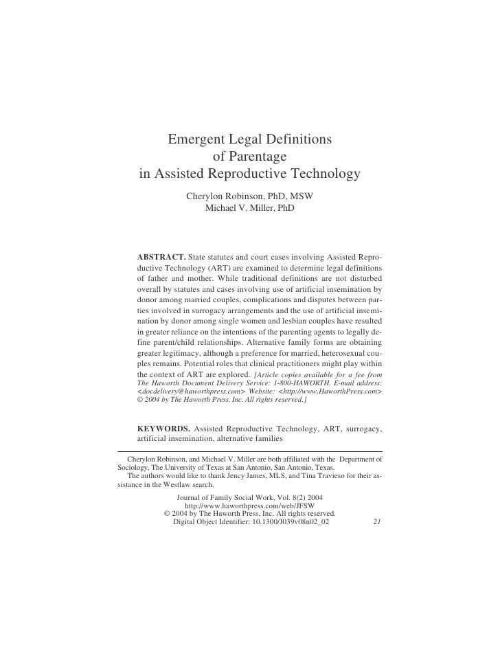 Emergent Legal Definitions                    of Parentage       in Assisted Reproductive Technology                      ...