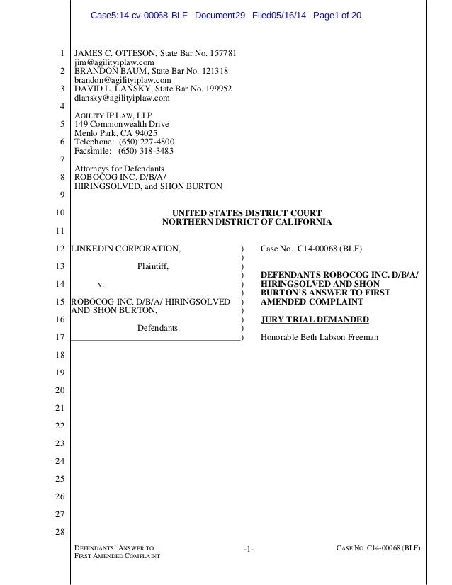 1 2 3 4 5 6 7 8 9 10 11 12 13 14 15 16 17 18 19 20 21 22 23 24 25 26 27 28 DEFENDANTS' ANSWER TO FIRST AMENDED COMPLAINT -...