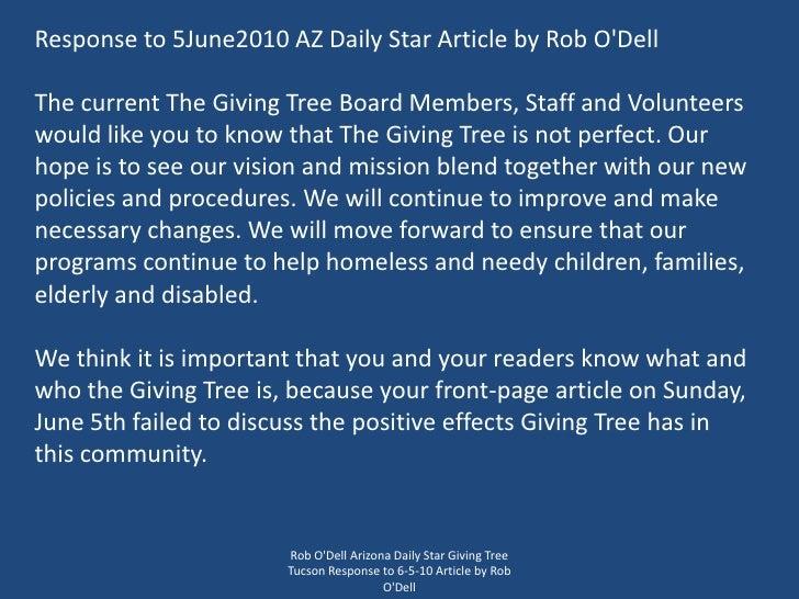 Rob O'Dell Arizona Daily Star Giving Tree Tucson Response to 6-5-10 Article by Rob O'Dell<br />Response to 5June2010 AZ Da...