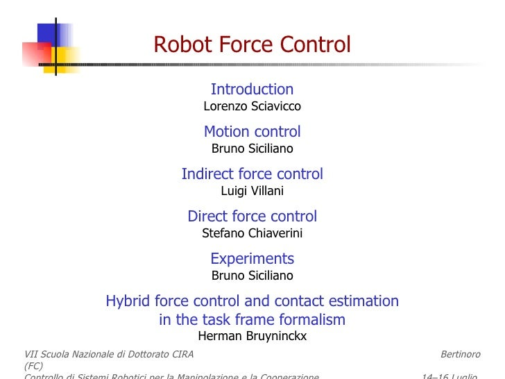 Introduction Lorenzo Sciavicco Motion control Bruno Siciliano Indirect force control Luigi Villani Direct force control St...