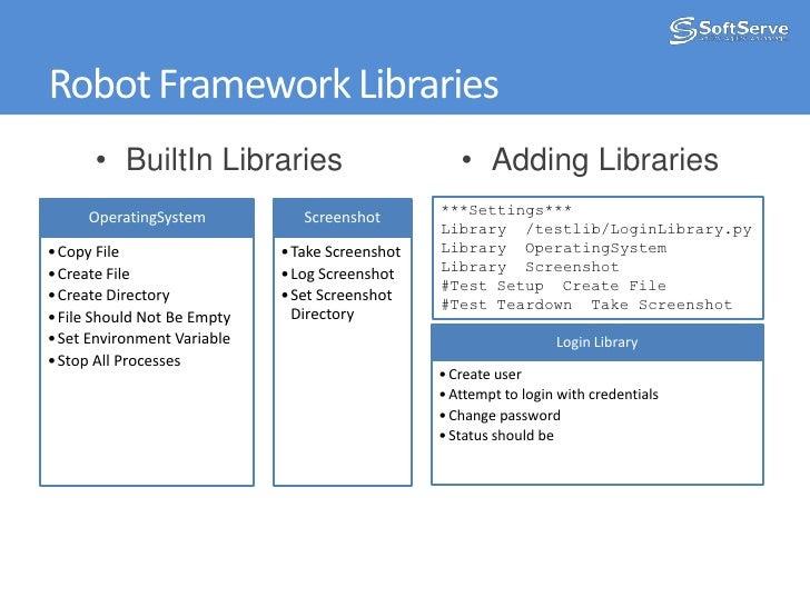 Robot Framework Libraries<br /><ul><li>BuiltIn Libraries