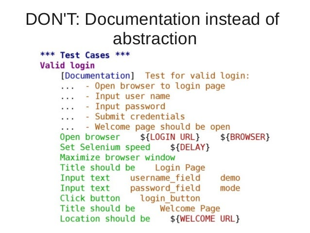 DON'T: Documentation instead of  abstraction