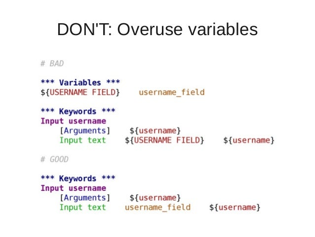 DON'T: Overuse variables