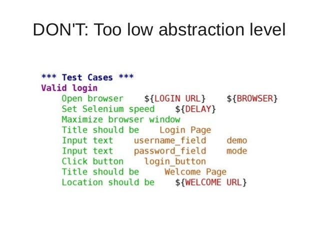 DON'T: Too low abstraction level