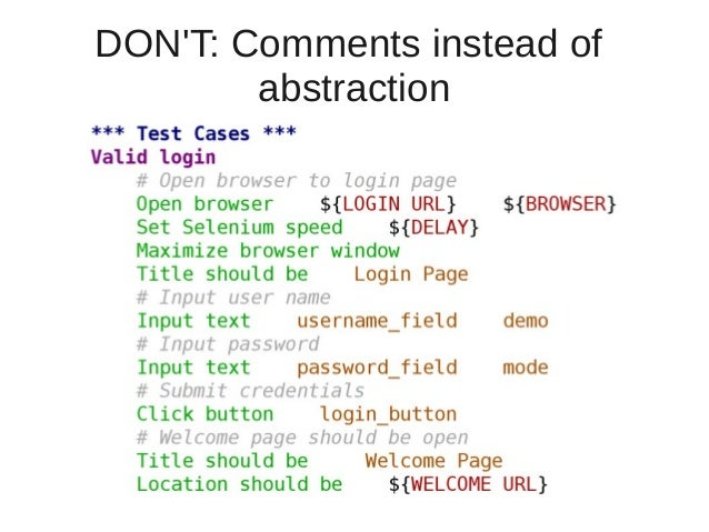 DON'T: Comments instead of  abstraction