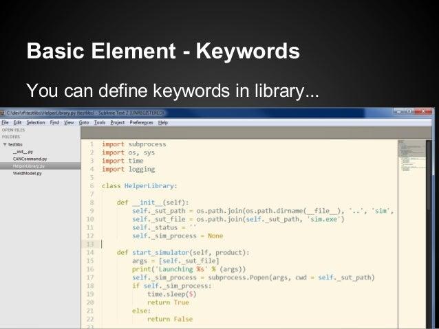 Basic Element - KeywordsYou can define keywords in library...