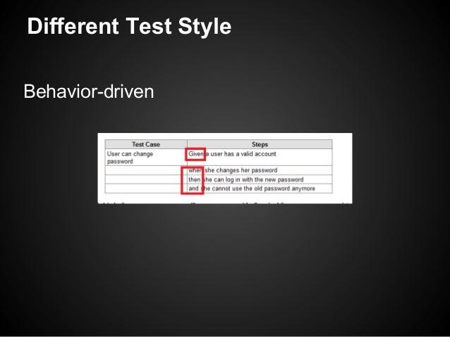 Different Test StyleBehavior-driven