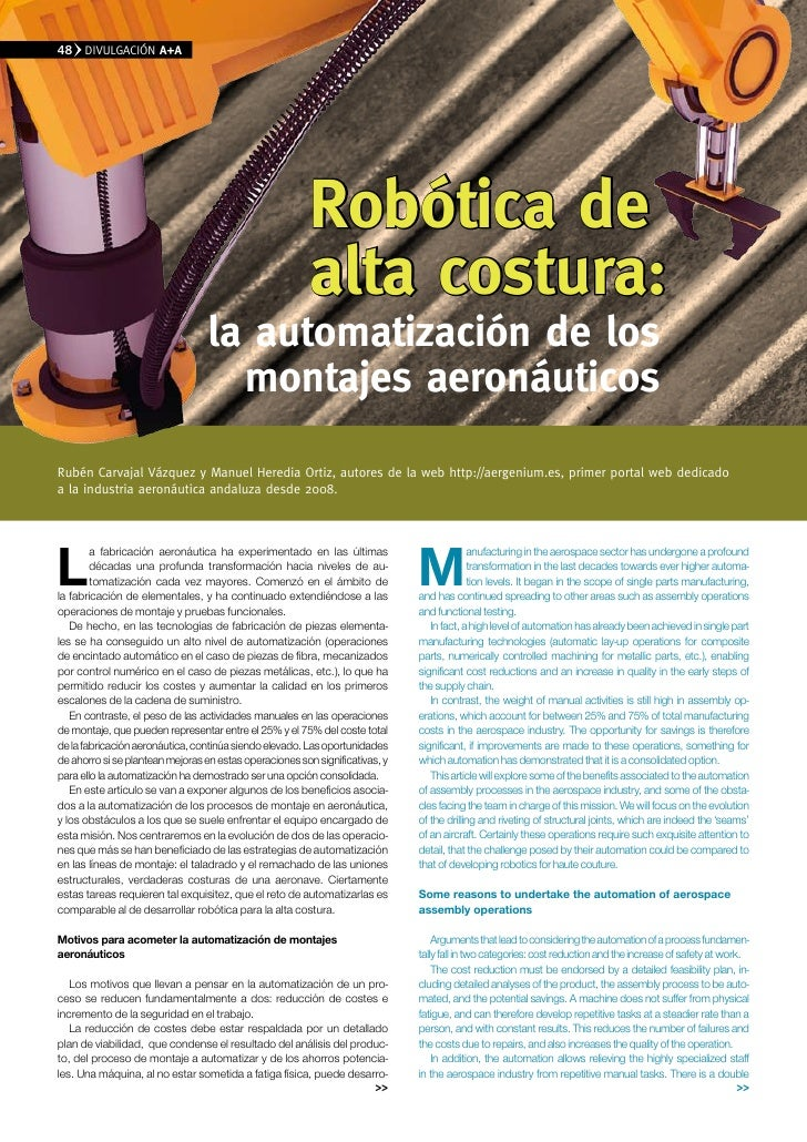 48    DIvULGACIÓN A+A                                                              Robótica de                            ...