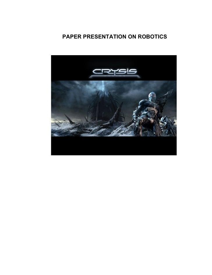PAPER PRESENTATION ON ROBOTICS