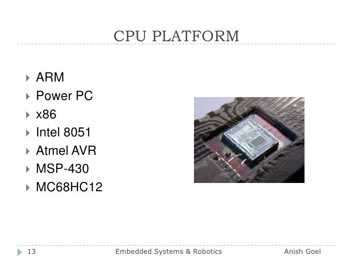 CPU PLATFORM<br />ARM<br />Power PC<br />x86<br />Intel 8051<br />Atmel AVR<br />MSP-430<br />MC68HC12<br />13<br />Embedd...
