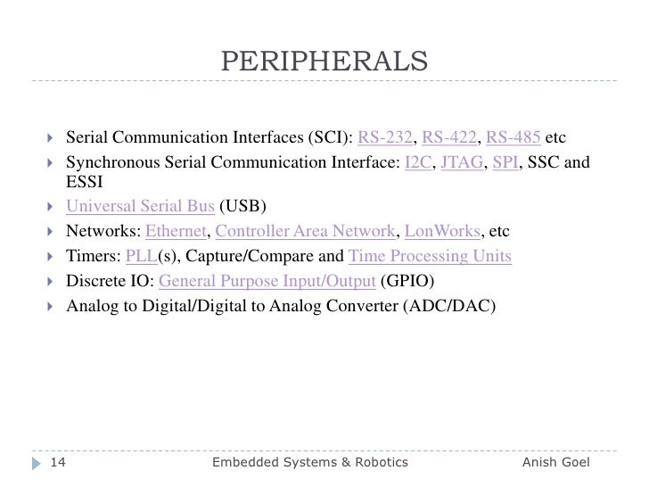 PERIPHERALS<br />Serial Communication Interfaces (SCI): RS-232, RS-422, RS-485 etc <br />Synchronous Serial Communication ...