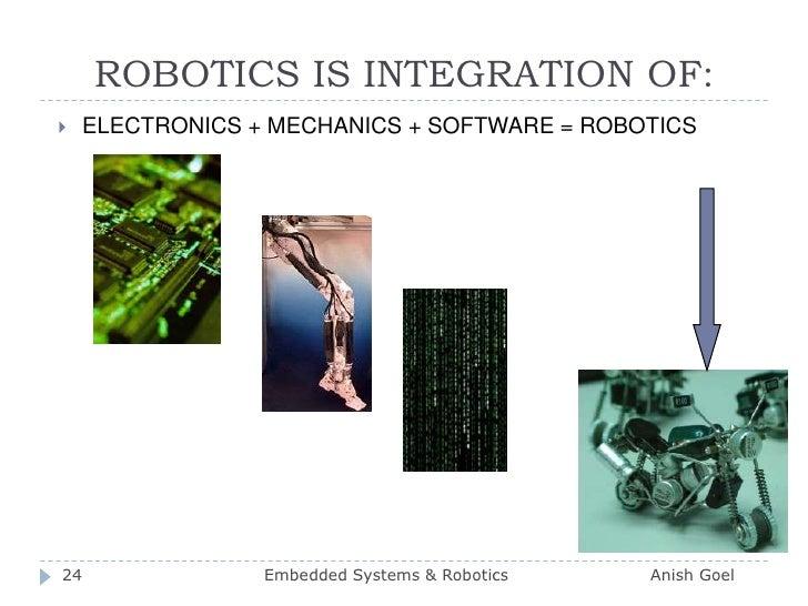 ROBOTICS IS INTEGRATION OF:<br />ELECTRONICS + MECHANICS + SOFTWARE = ROBOTICS<br />24<br />Embedded Systems & Robotics   ...