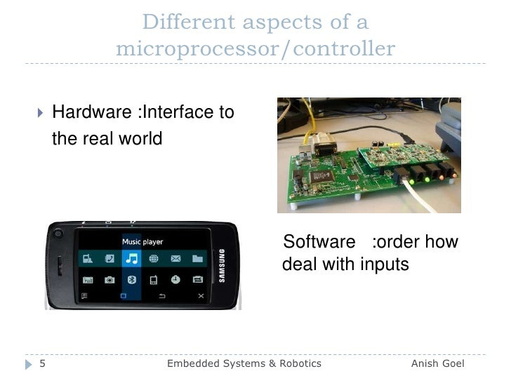 Different aspects of a microprocessor/controller<br />Hardware :Interface to <br />the real world<br />                  ...