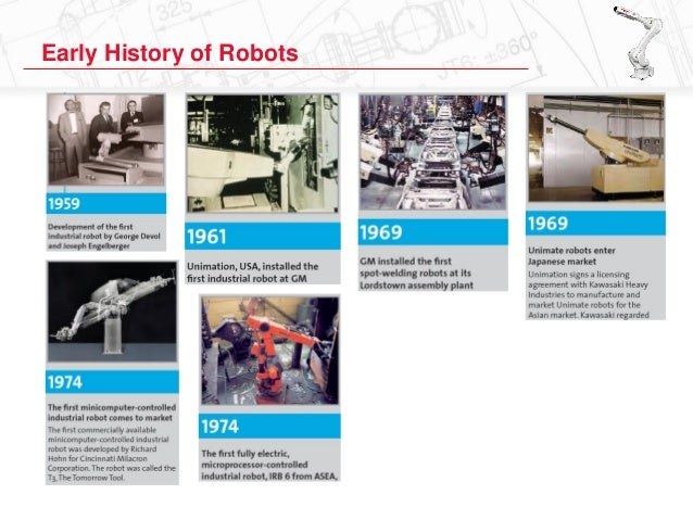 a history of robotics and the early ideas of robots The status of this page is to give you a first impression of the history of robotics in modern times and will be extended regularly  by robots for welding and .