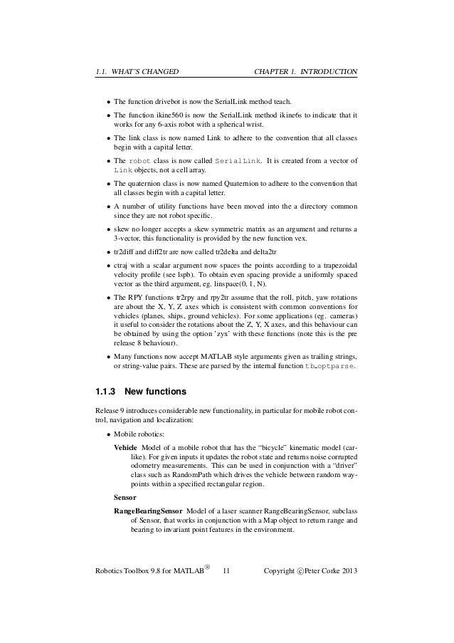 Robotics Toolbox for MATLAB (Relese 9)