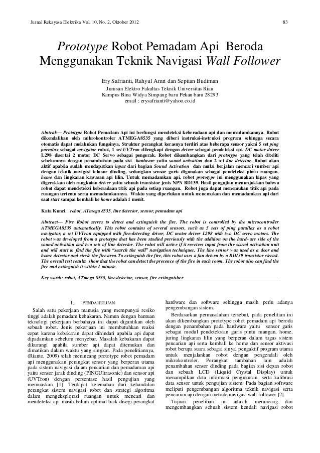 Robot pemadam api 1 jurnal rekayasa elektrika vol 10 no 2 oktober 2012 83 prototype robot ccuart Image collections