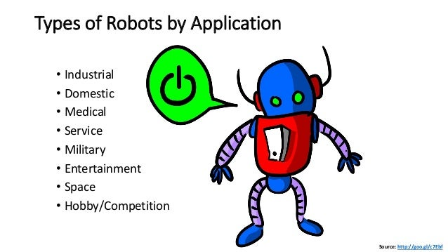 Types of Robots by Application • Industrial • Domestic • Medical • Service • Military • Entertainment • Space • Hobby/Comp...