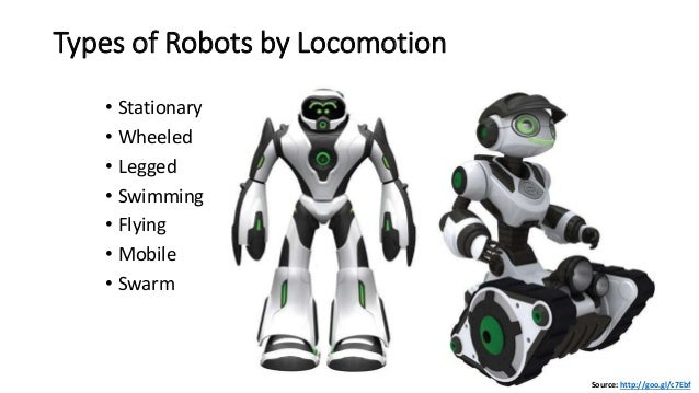 Types of Robots by Locomotion • Stationary • Wheeled • Legged • Swimming • Flying • Mobile • Swarm Source: http://goo.gl/c...