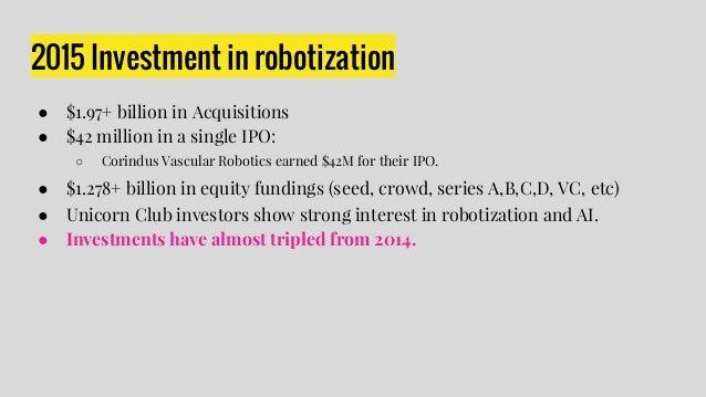 2015 Investment in robotization ● $1.97+ billion in Acquisitions ● $42 million in a single IPO: ○ Corindus Vascular Roboti...