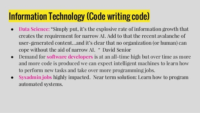 """● One of DARPA's projects focuses on using software to assemble code from existing code bases....""""Many programmers today f..."""